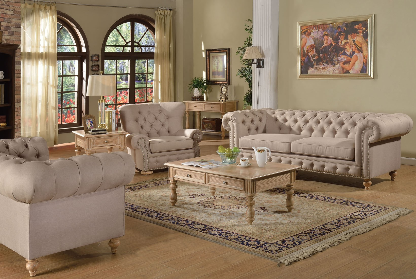 Furniture For Living Rooms: 2pc Sofa Set Beige Fabric Traditional Living Room