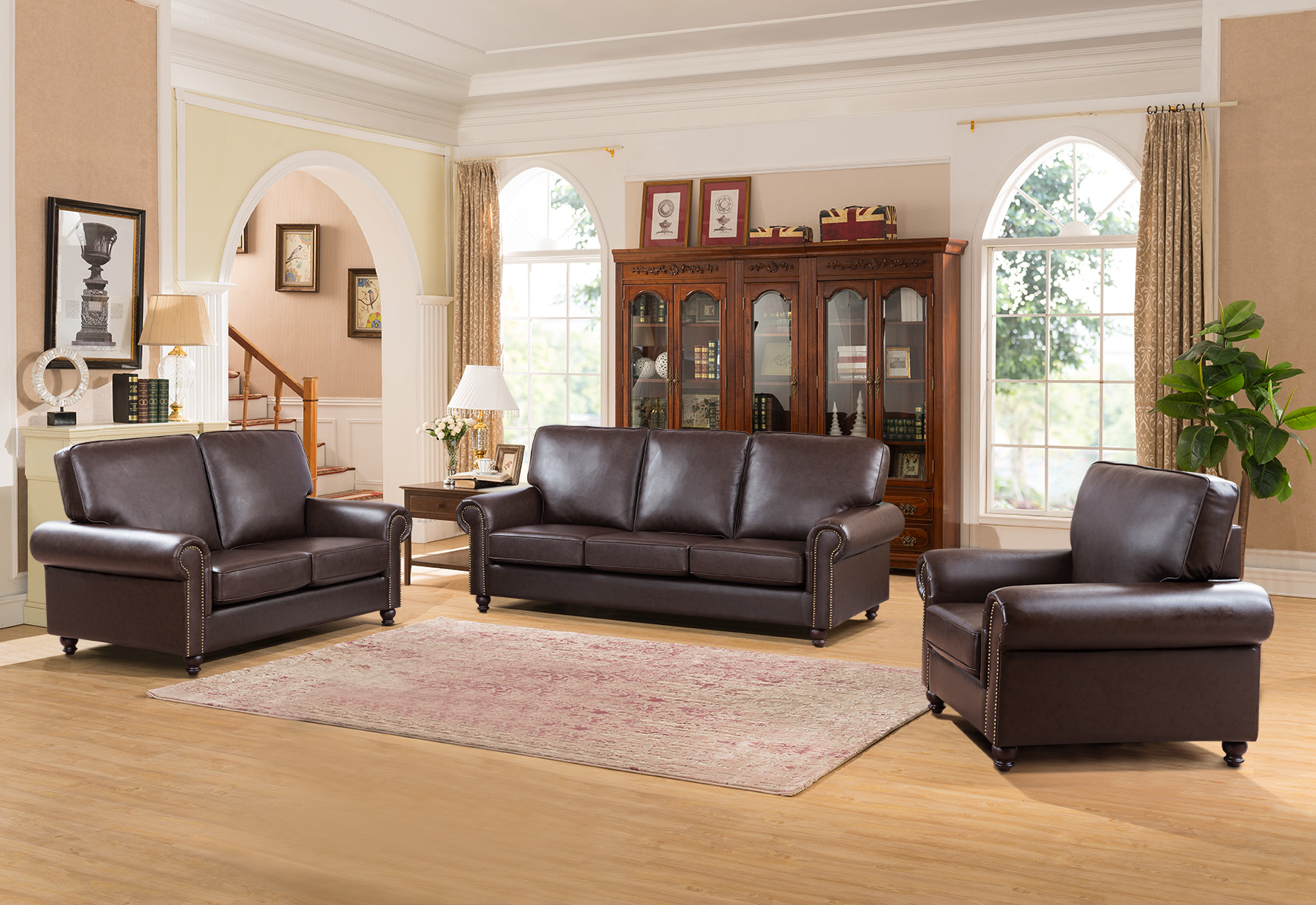 Coffee Color Living Room Furniture 3pc Sofa Set Contemporary Sofa Loveseat Chair