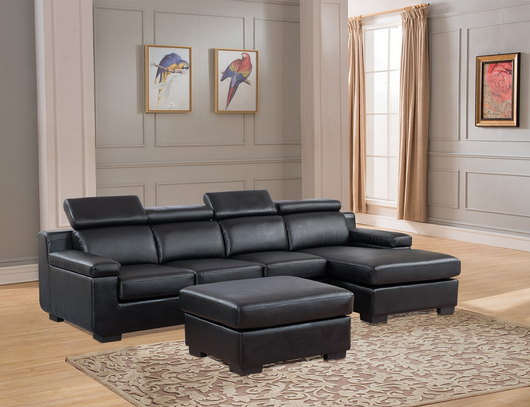 4pc Sectional Sofa Black Contemporary Living Room Set