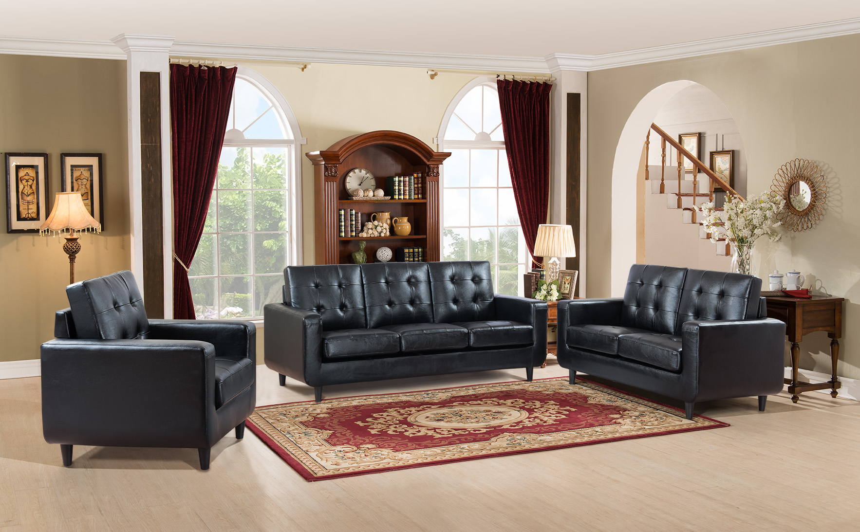 Super Sofa Love Seat Chair Modern Black Tufted Back Home Furniture 3Pc Sofa Set Lamtechconsult Wood Chair Design Ideas Lamtechconsultcom