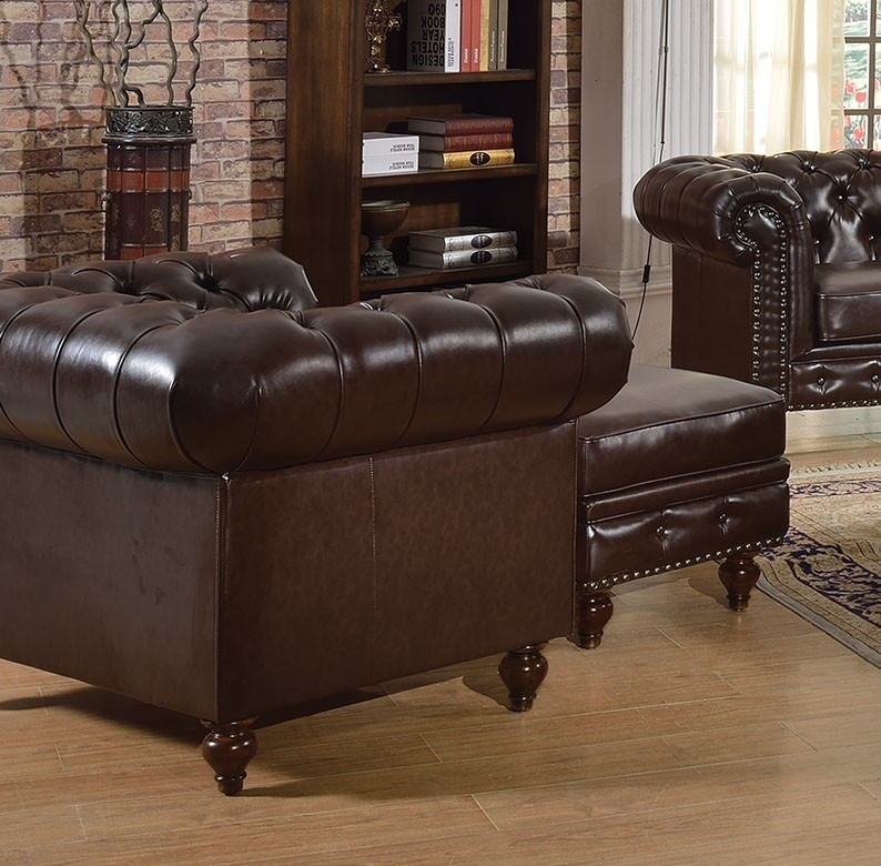 2pc Sofa Set Dark Brown Traditional Living Room Hot