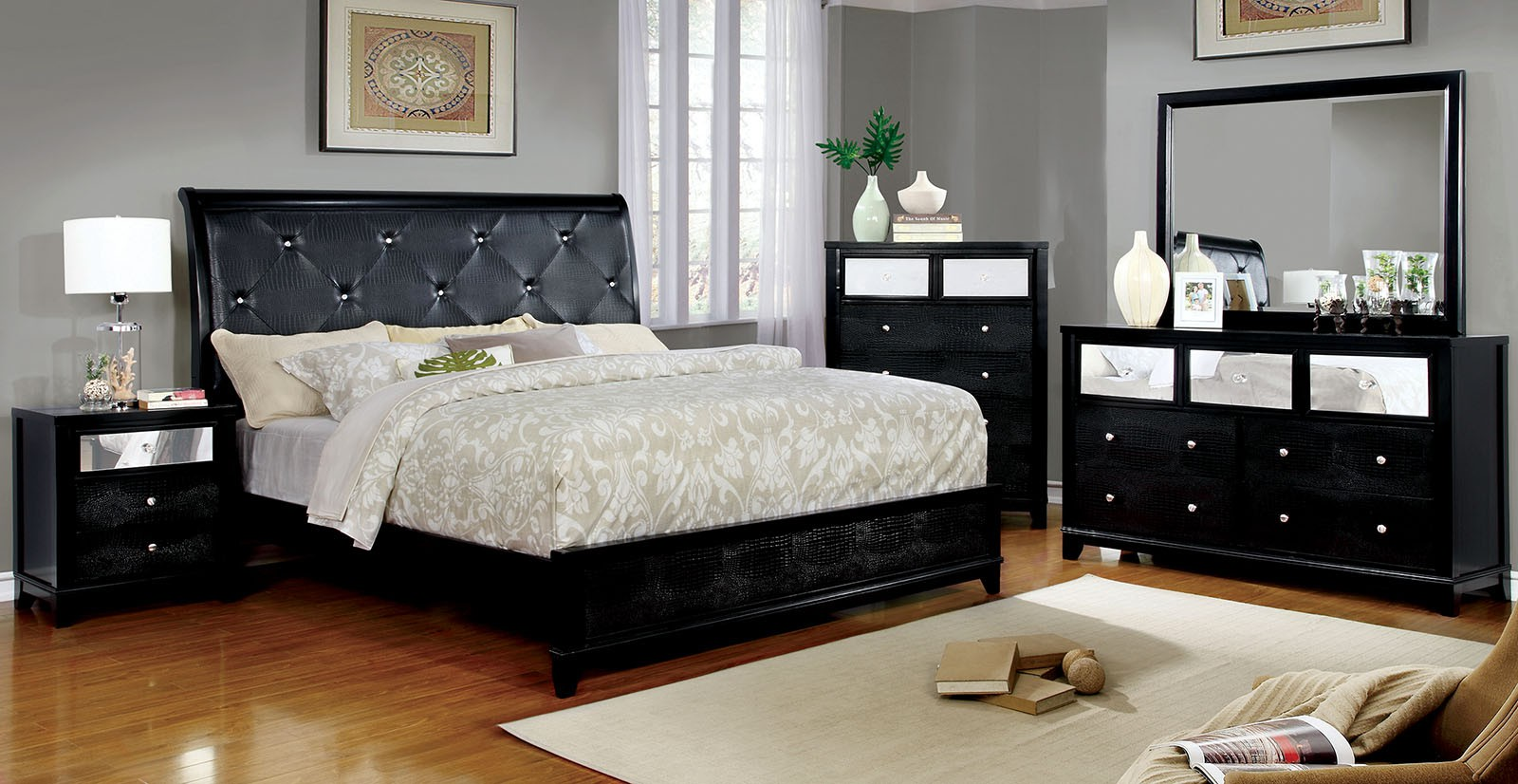 Black Classic 4pc Set Bedroom Furniture Cal king Size Bed Dresser Mirror  Nightstand
