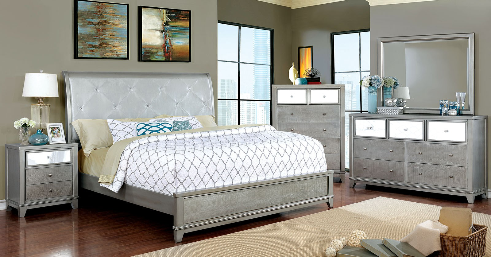 Bedroom Furniture Queen Size Bed Dresser Mirror Nightstand Silver Classic 4pc Set