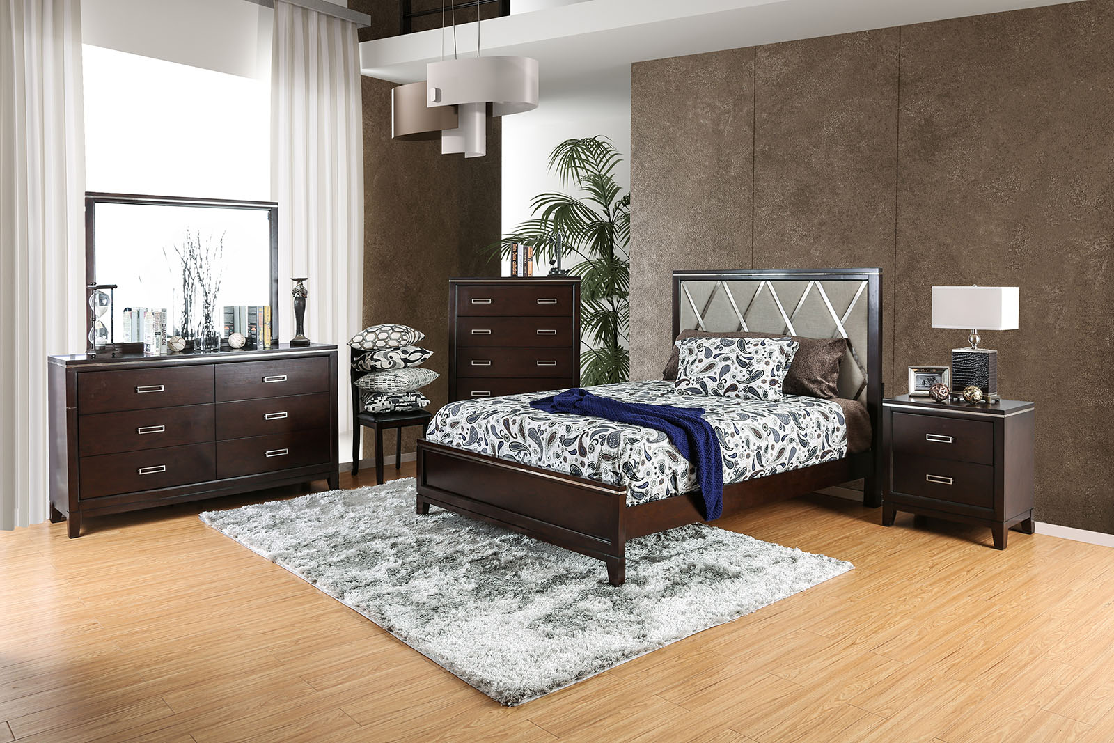 Bedroom Queen Bed Cherry Finish 4pc Set Foa Hot Sectionals