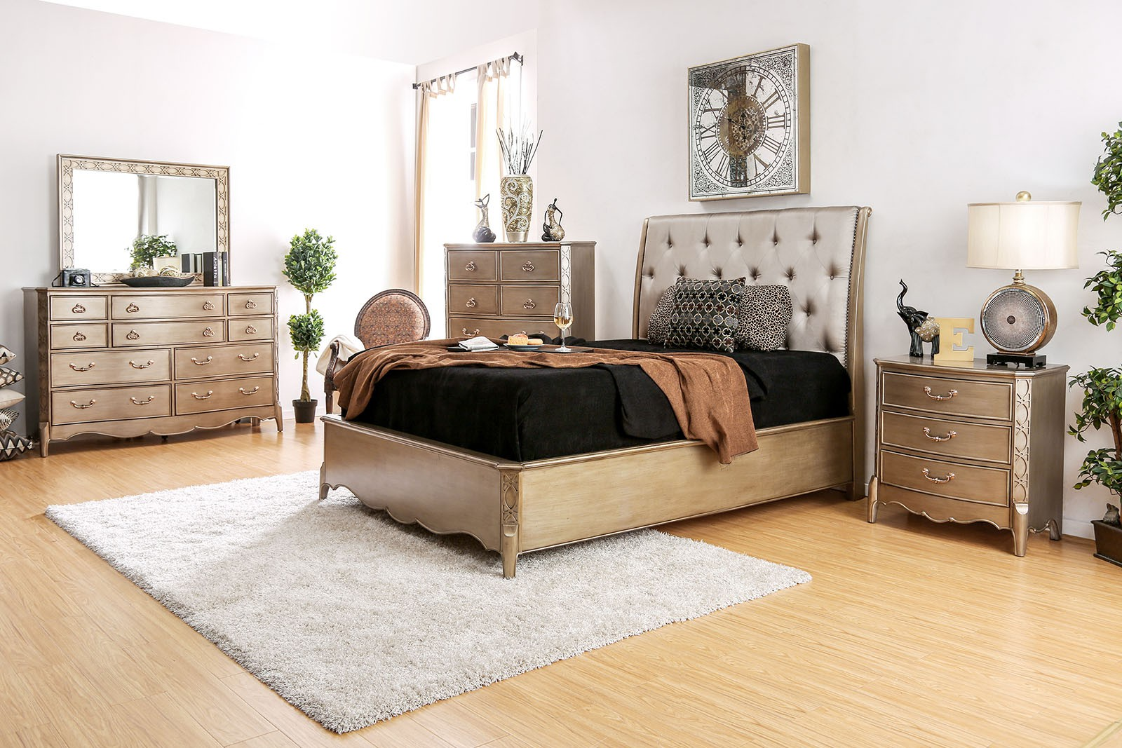 Luxurious Look Gold Finish Contemporary Style Queen Bed 4pc Set Dresser Mirror Nightstand Bedroom