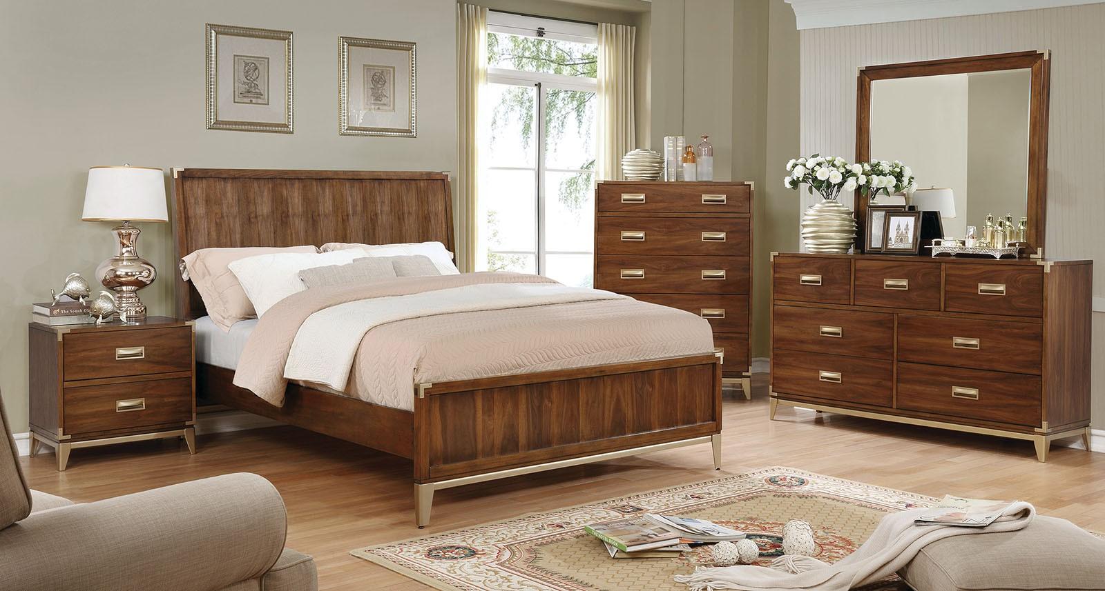 Dark Oak Finish 4 Piece Platform Bed Set Queen Bed Dresser Mirror Nightstand Home Bedroom