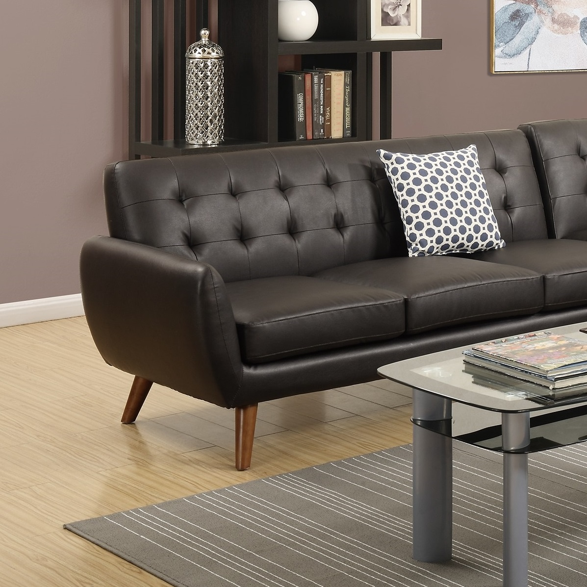 sectional leather sofa chaise tufted couch hot sectionals. Black Bedroom Furniture Sets. Home Design Ideas