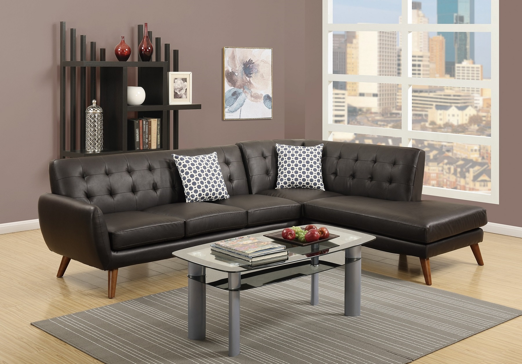 Unique Sectional Sofa Modern Tufted Couch Sofa Chaise Espresso Bonded  Leather Living Room Set