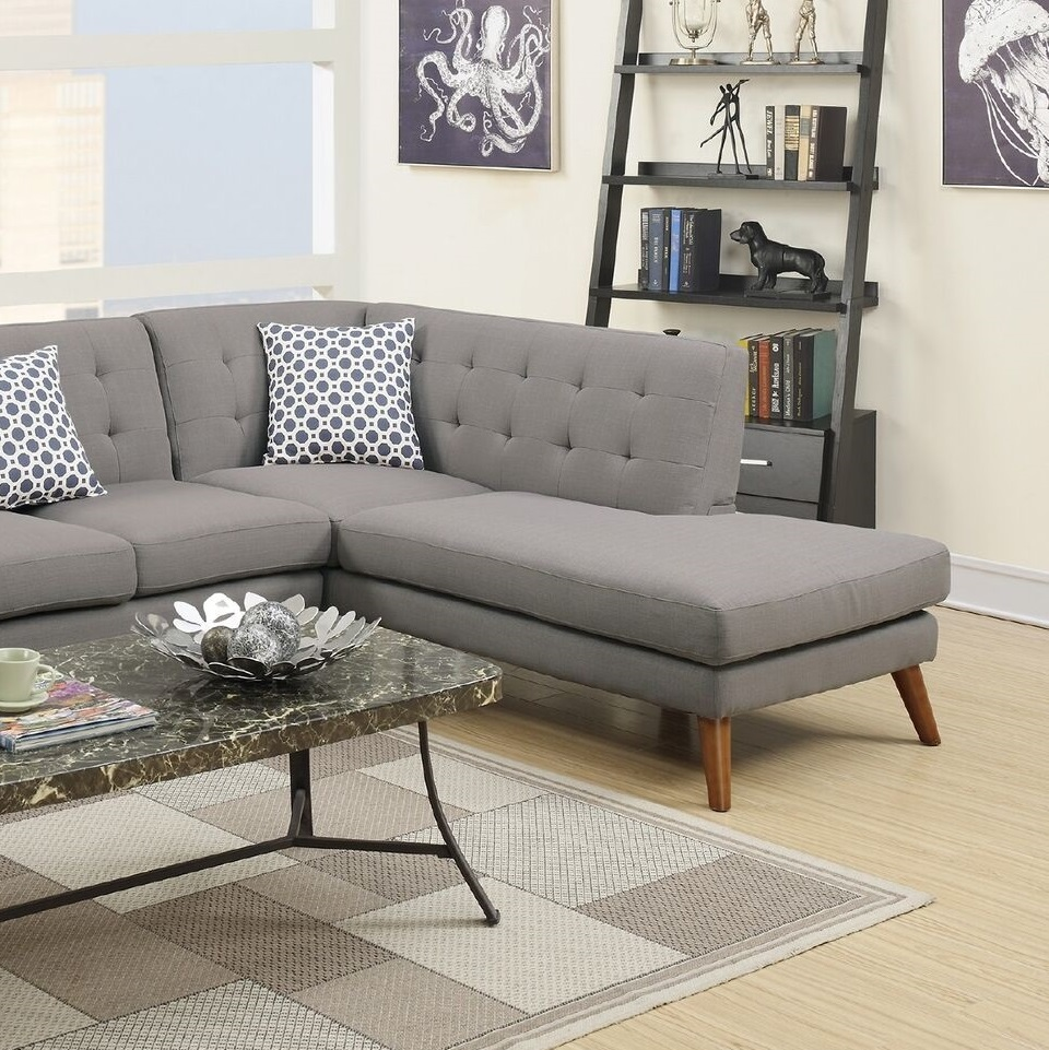 New Sectional Grey Sofa Chaise Linen Couch Hot Sectionals