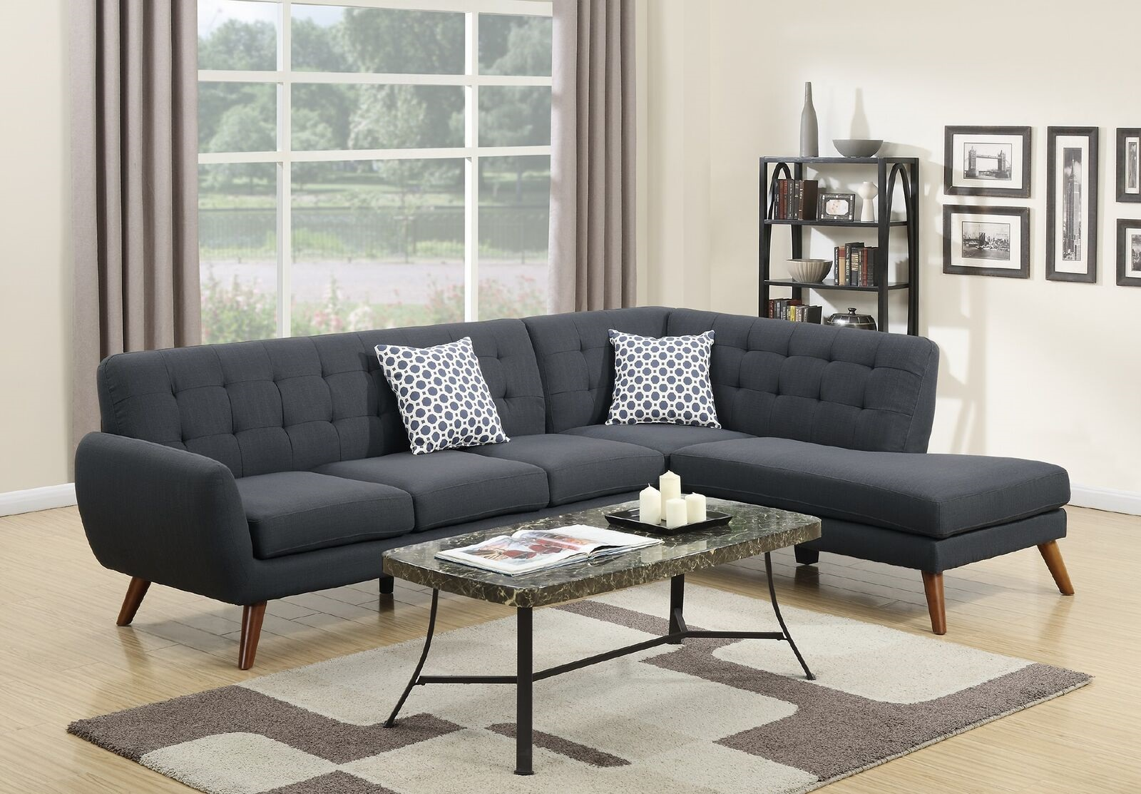 Unique Sectional Sofa Modern Tufted Couch Sofa Chaise Ash Black Linen Like Fabric Living Room Set