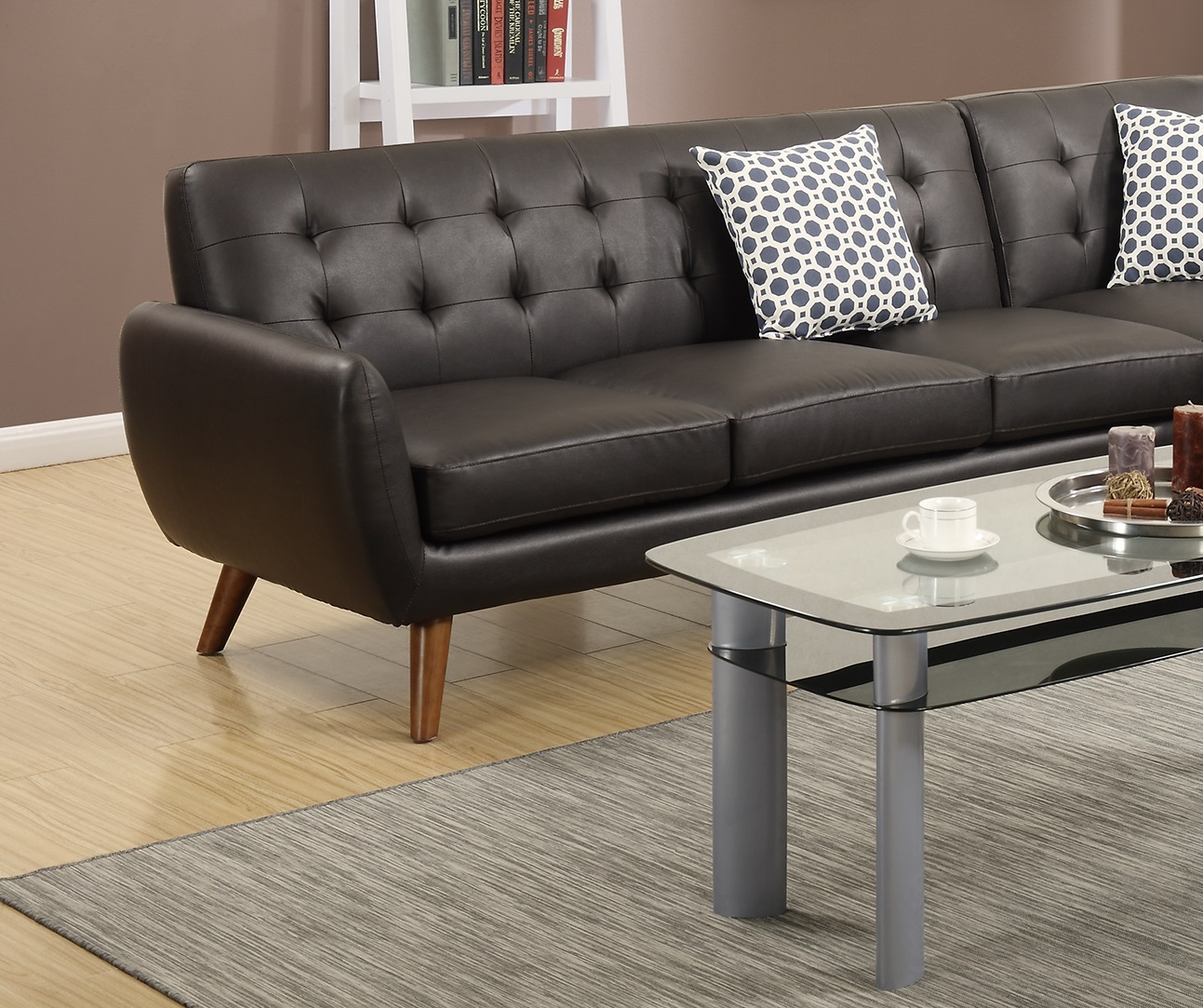 Sectional Sofa Loveseat Wedge Leather Couch Hot Sectionals