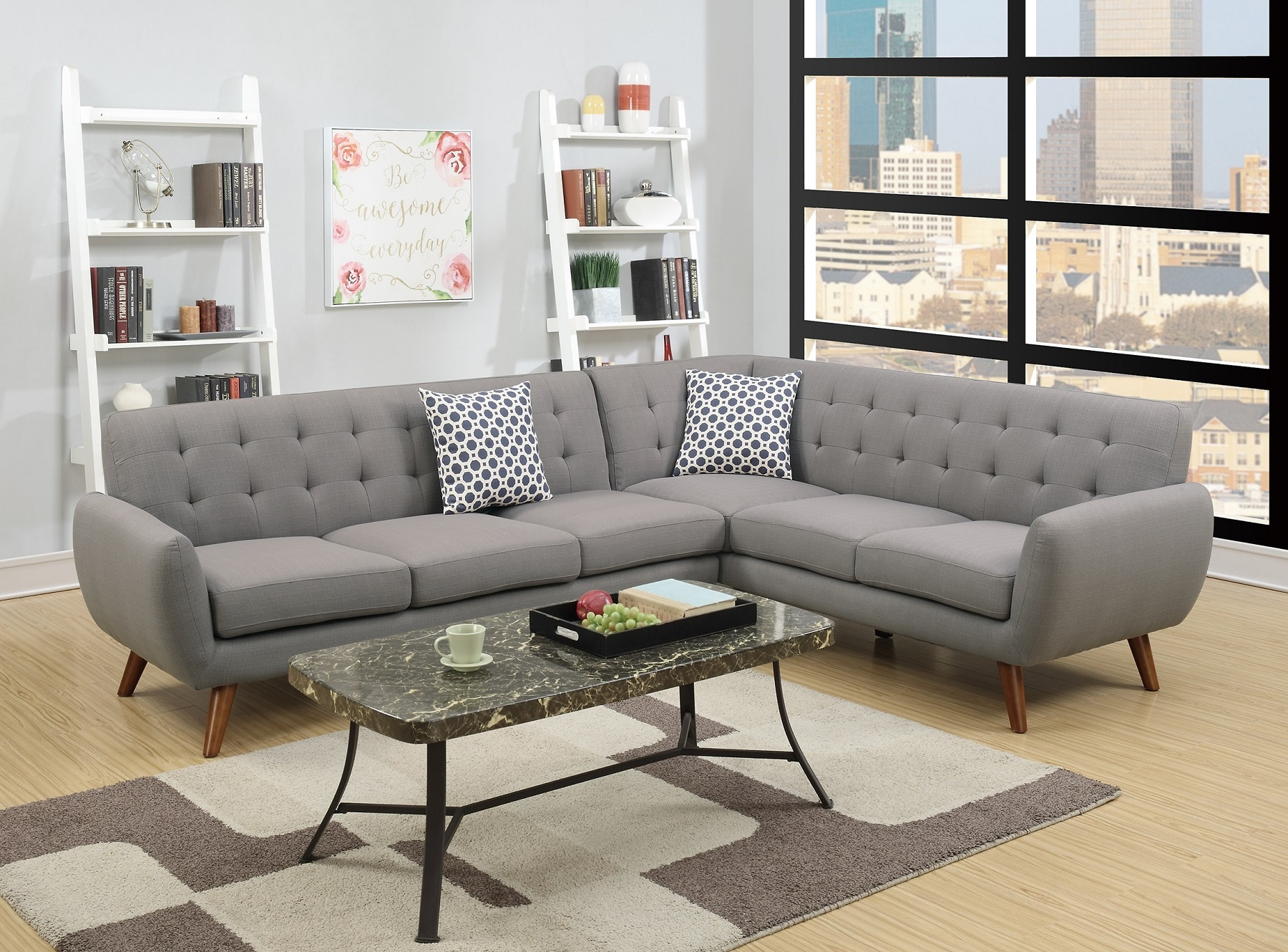 Admirable 2 Piece Sectional Sofa Living Room Grey Linen Like Fabric Sofa Loveseat Wedge Tufted Cushion Couch Pabps2019 Chair Design Images Pabps2019Com