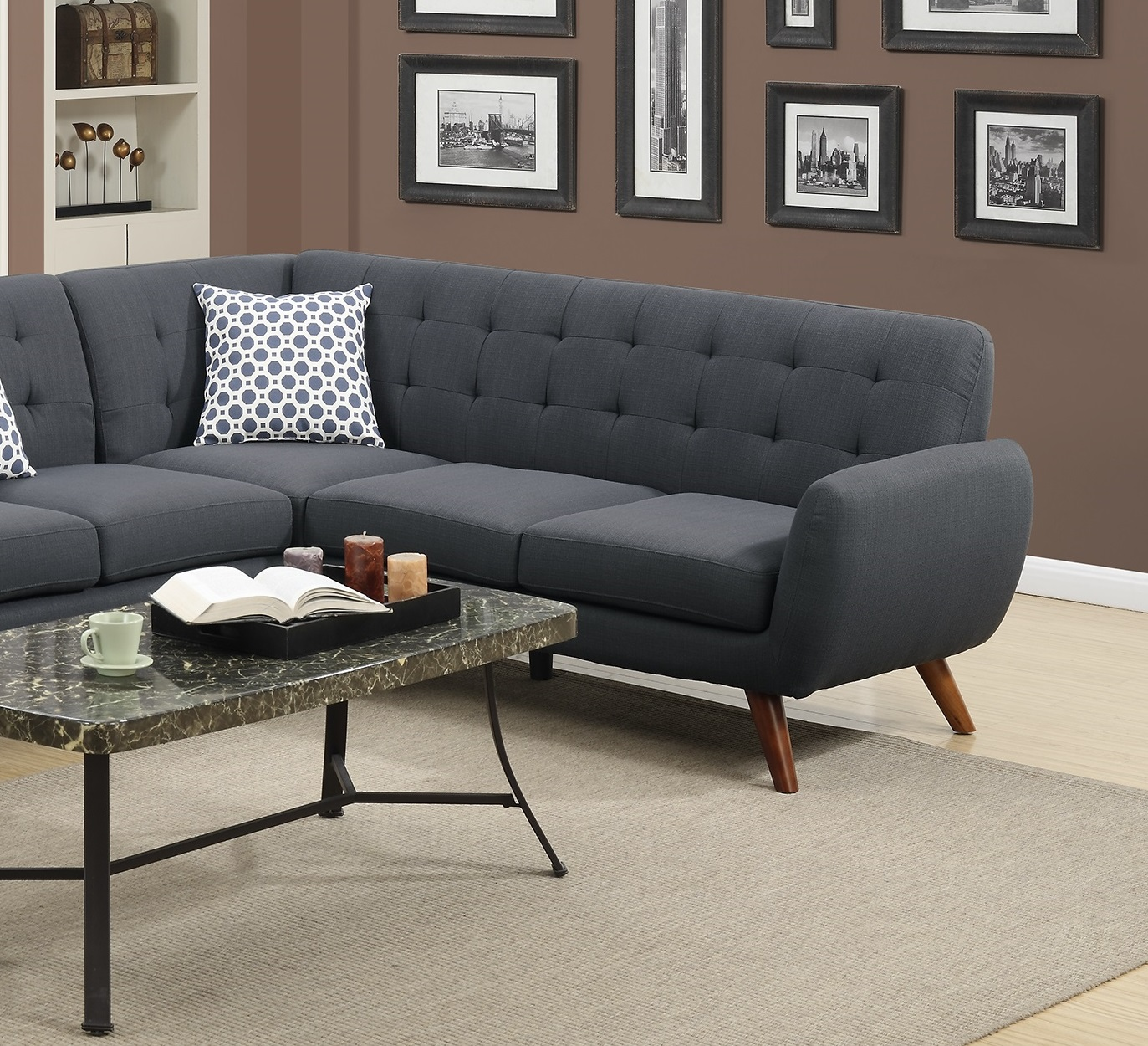Sectional Sofa Loveseat Wedge Linen Black Hot Sectionals
