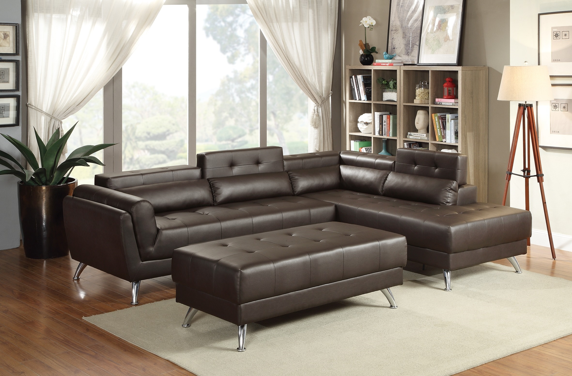 New sectional poundex leather espresso sofa hot sectionals for Bonded leather sectional with chaise