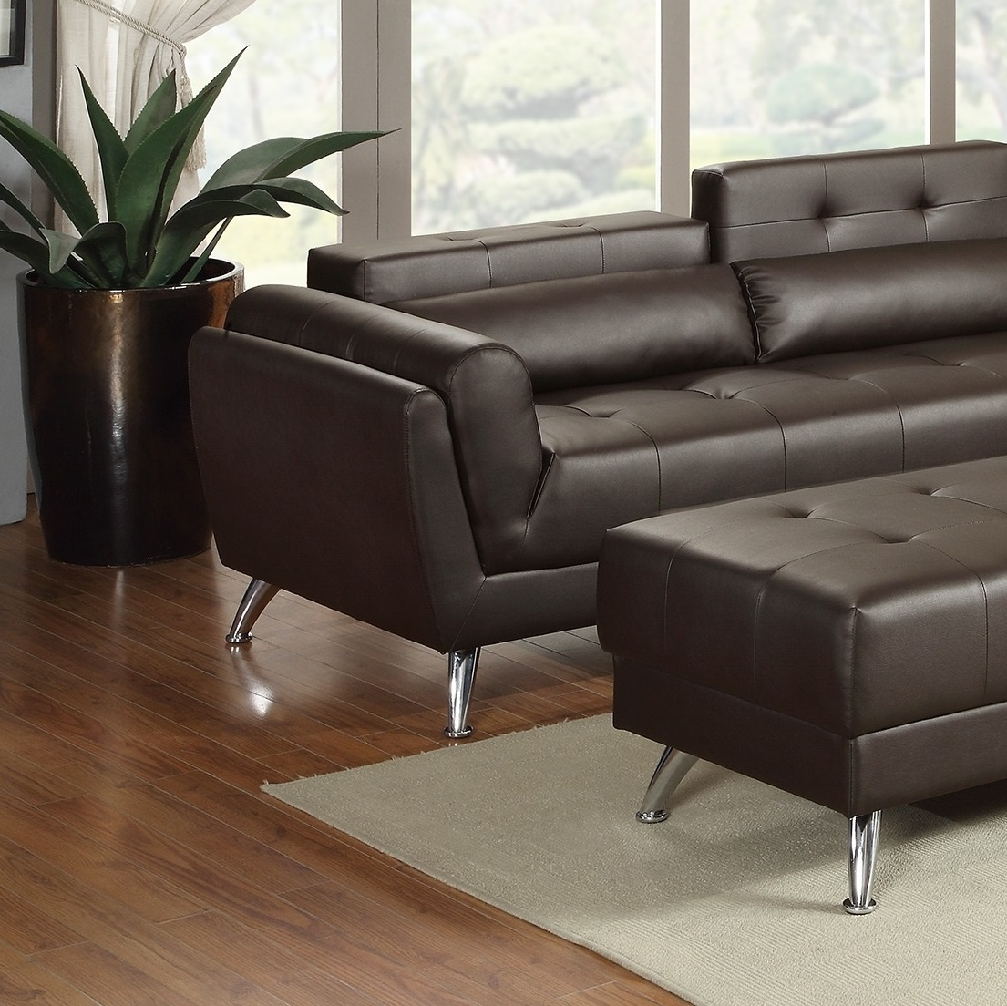 New Sectional Poundex Leather Espresso Sofa Hot Sectionals