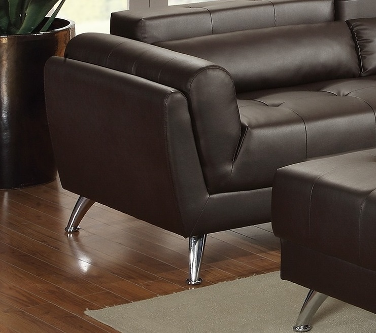 New sectional poundex leather espresso sofa hot sectionals for Bonded leather chaise