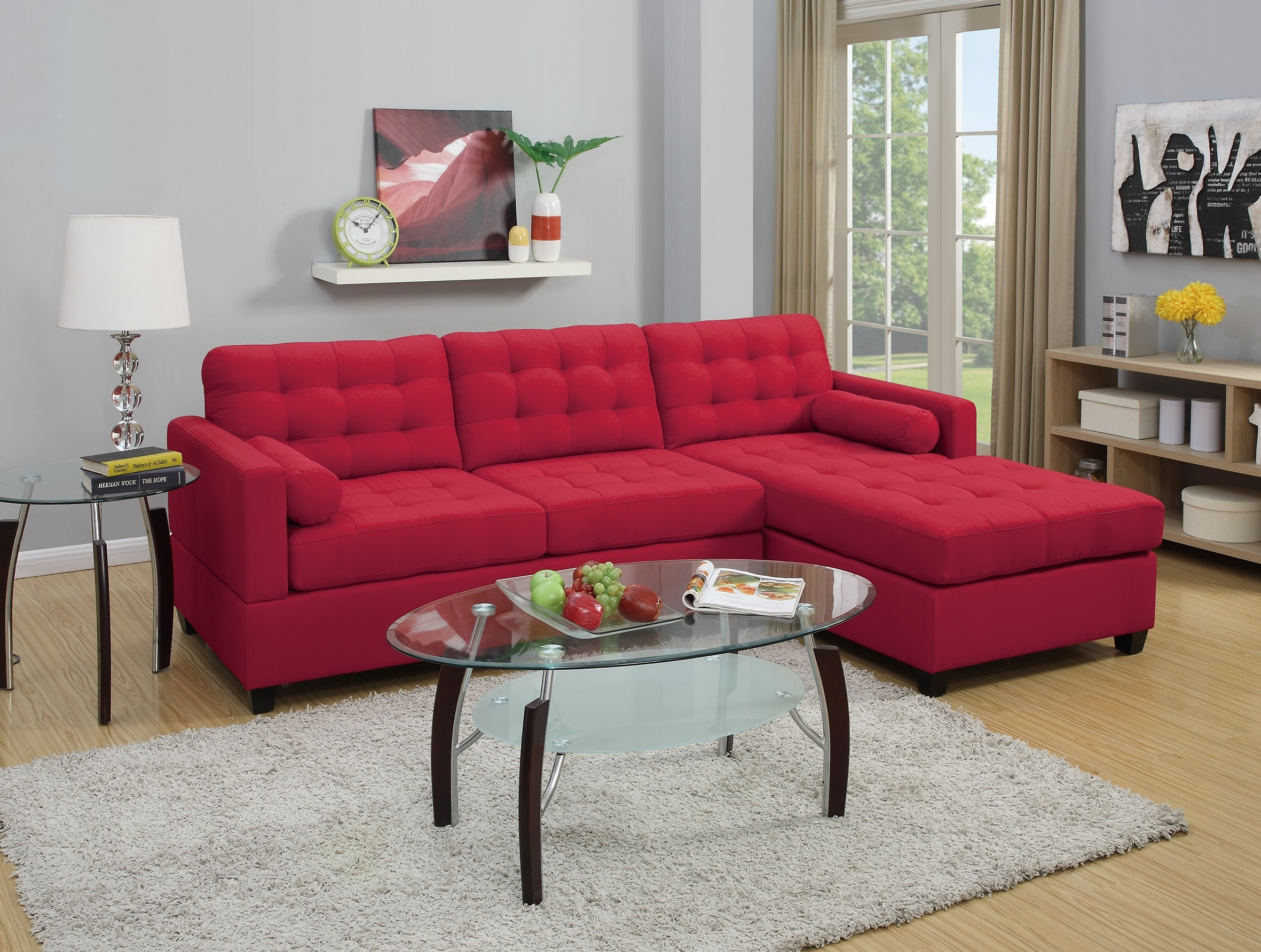 New sectional poundex fabric carmine sofa hot sectionals for Sectional sofa reversible chaise living room furniture