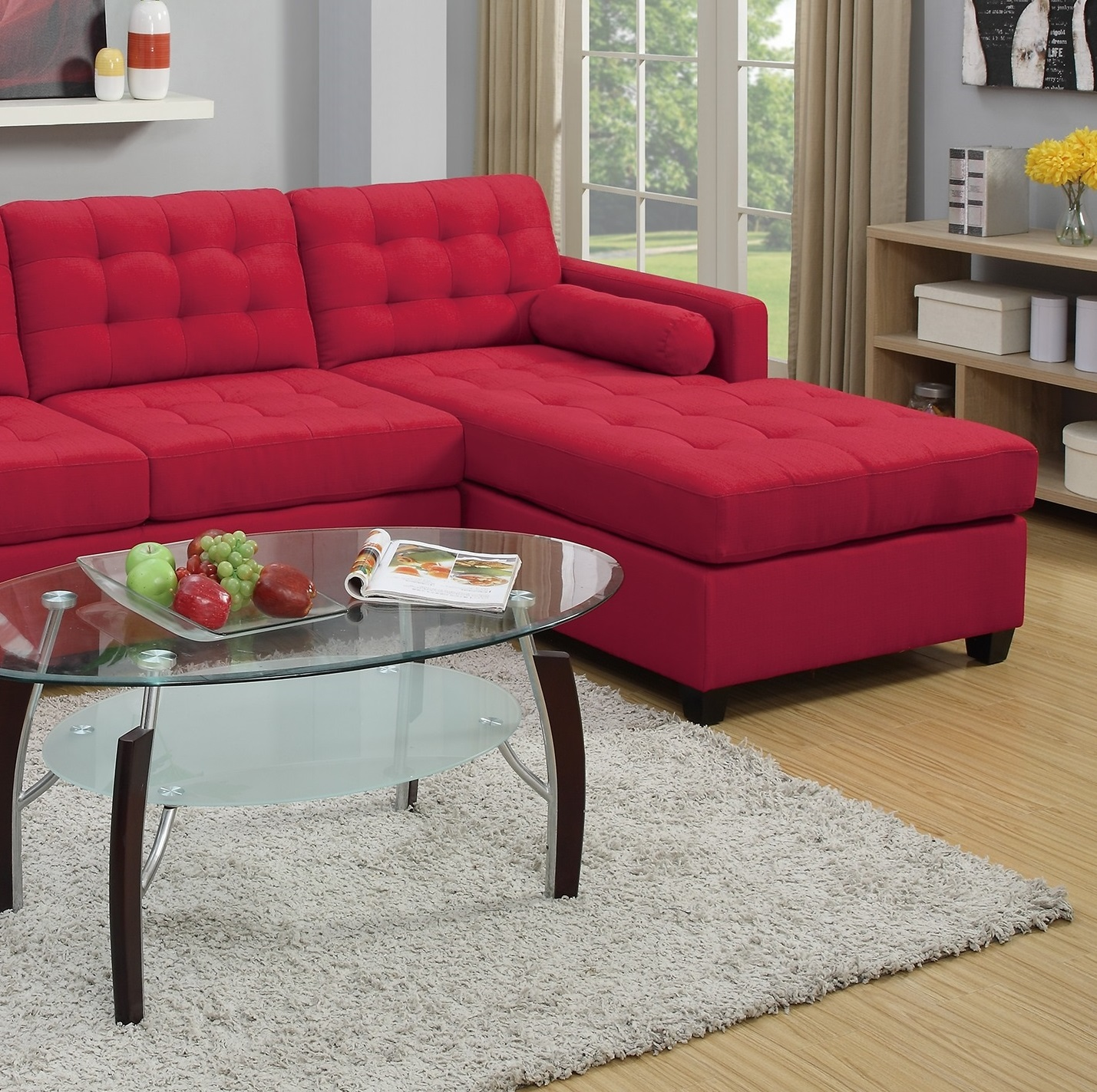Awesome Living Room Furniture Modern 2Pcs Sectional Sofa Set Carmine Polyfiber 2 Seat Sofa Reversible L R Chaise Inzonedesignstudio Interior Chair Design Inzonedesignstudiocom