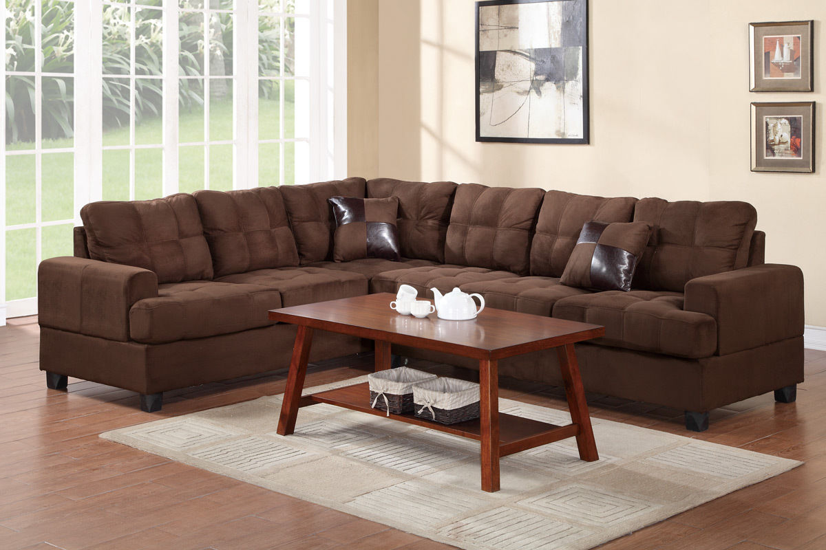Surprising Living Room Furniture 2Pcs Sectional Sofa Chocolate Plush Microfiber Reversible Sectionals Loveseat Wedge Caraccident5 Cool Chair Designs And Ideas Caraccident5Info