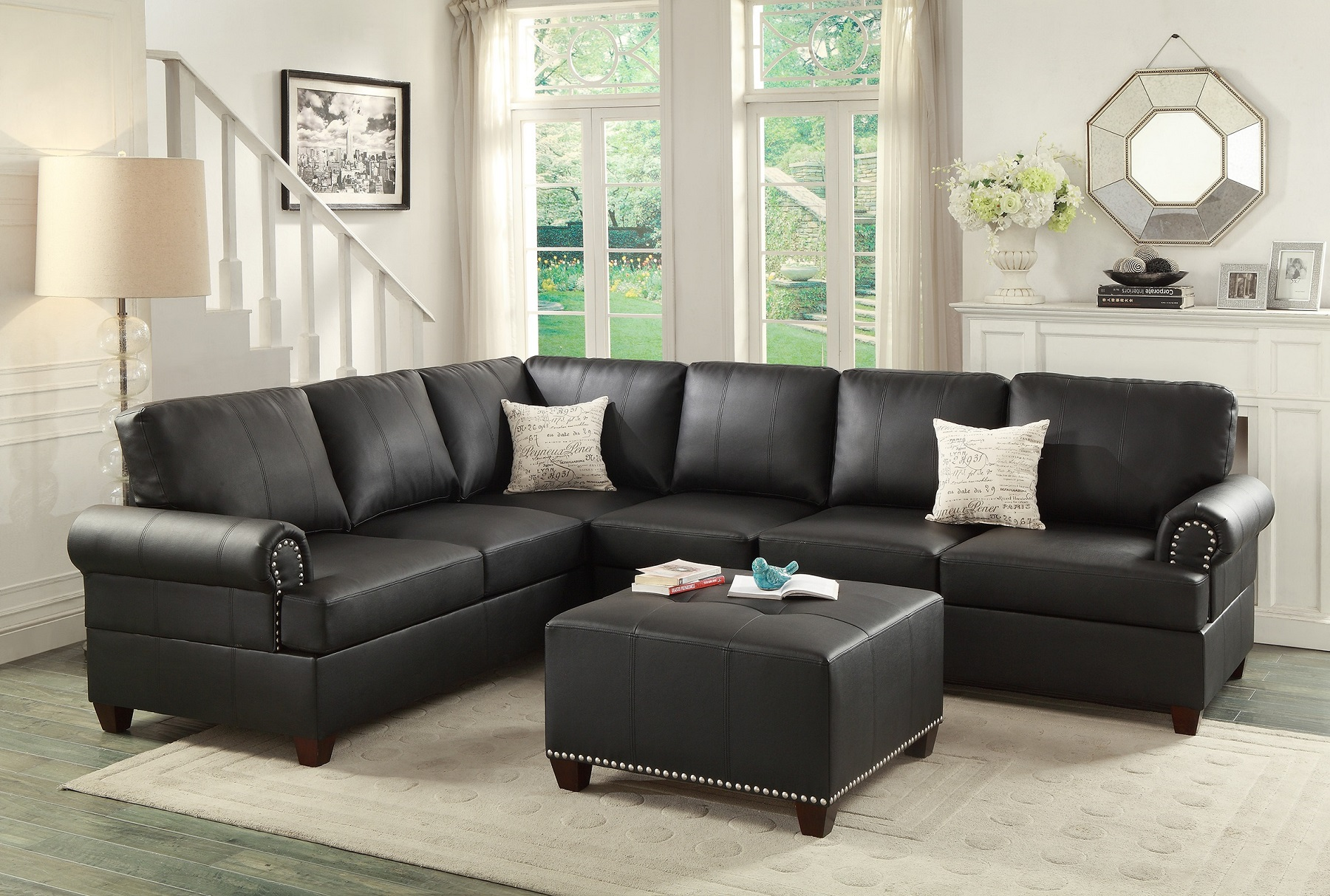 Black Leather Sectional Sofa Loveseat Wedge Hot Sectionals