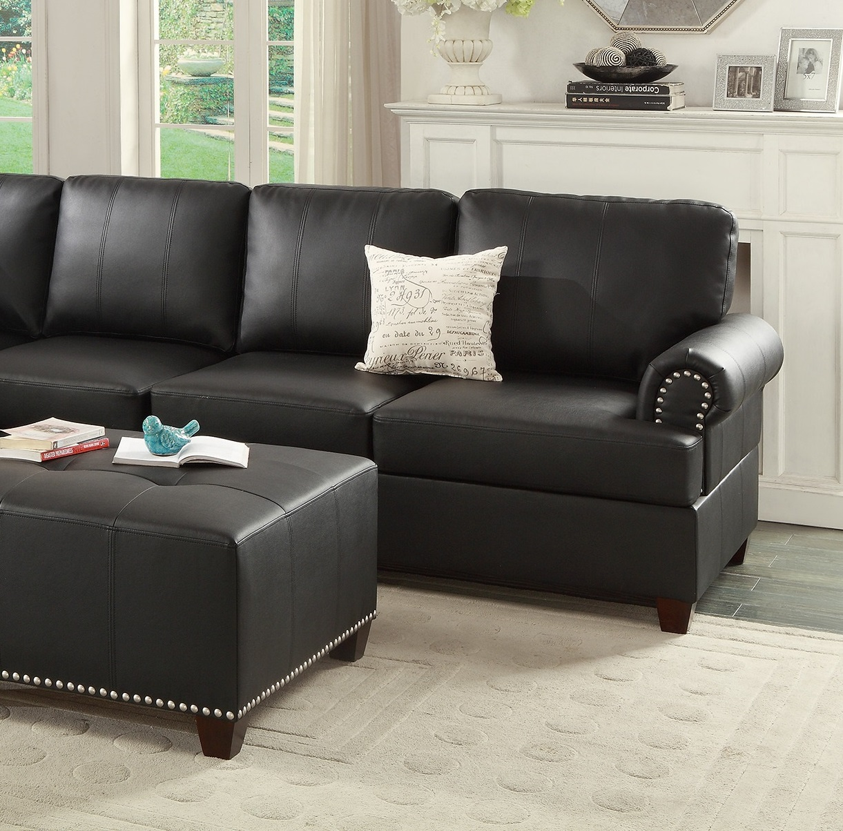 Black Leather Sectional Sofa Loveseat Wedge