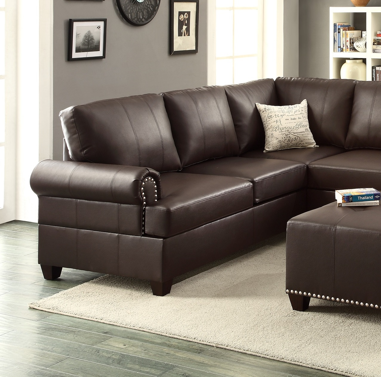 Espresso Leather Sectional Sofa Loveseat Wedge Hot