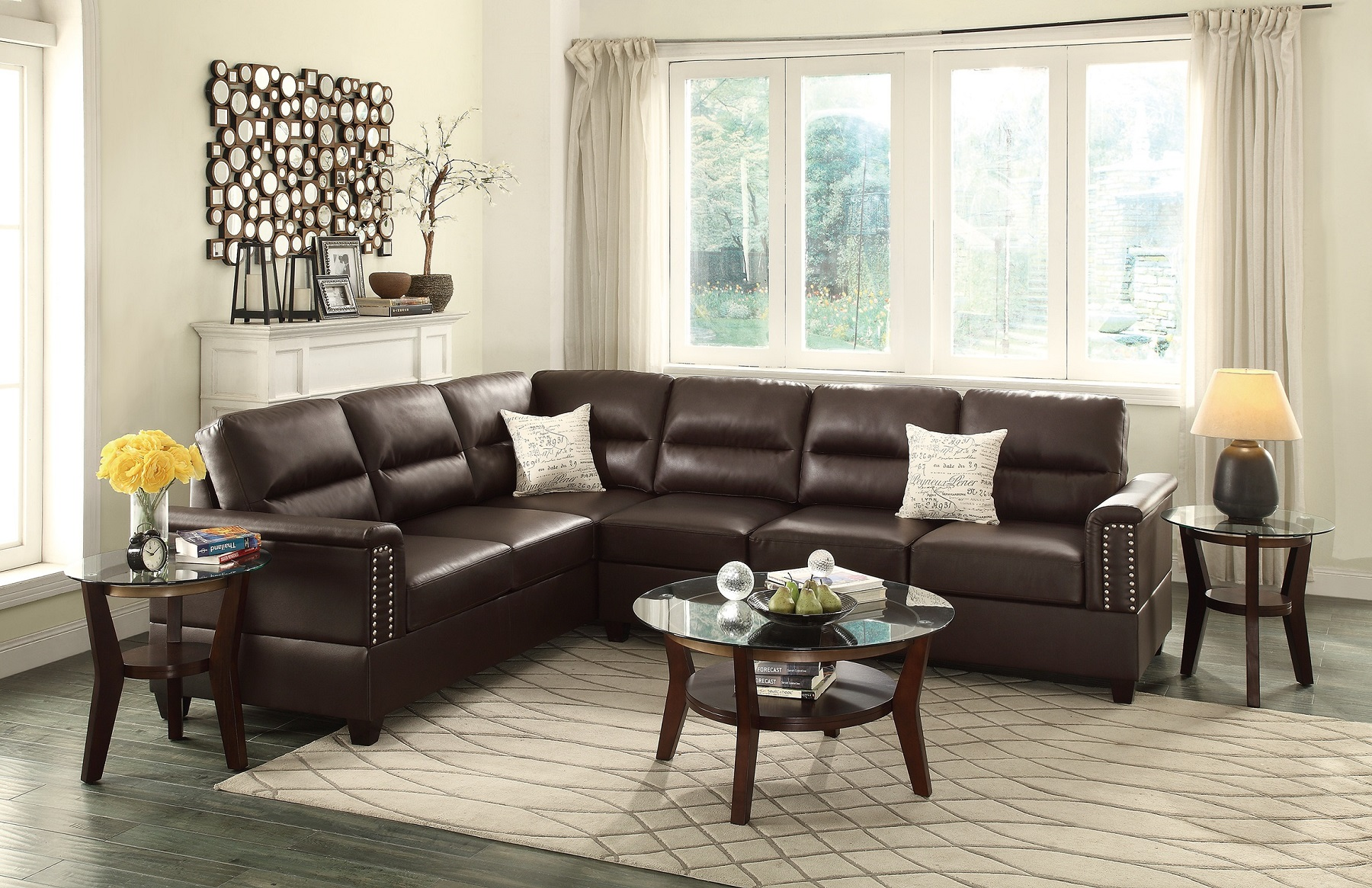 Living Room Sectional Reversible Sectionals Sofa Love-seat Wedge Espresso  Bonded Leather 2pcs Set Plush Couch