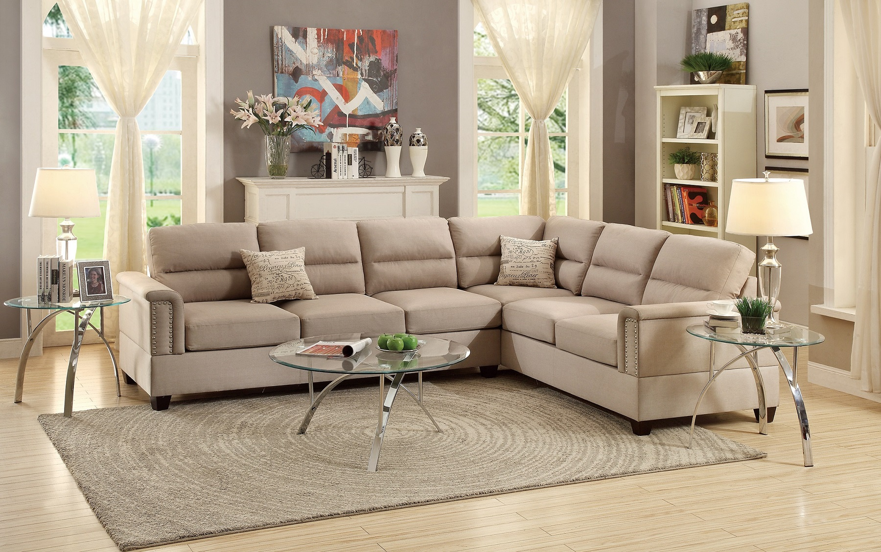 Fine Living Room Sectional Reversible Sectionals Sofa Love Seat Wedge Sand Polyfiber 2Pcs Set Plush Couch Spiritservingveterans Wood Chair Design Ideas Spiritservingveteransorg