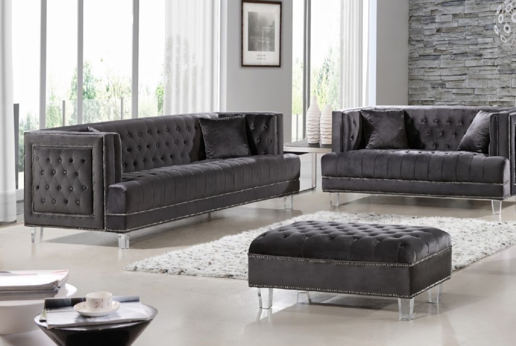 2pc Gray Sofa Set Living Room Furniture   Hot Sectionals