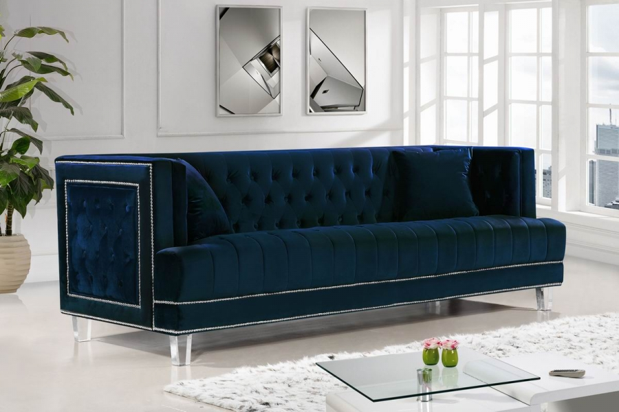2pc Navy Sofa Set Living Room Furniture New Hot Sectionals