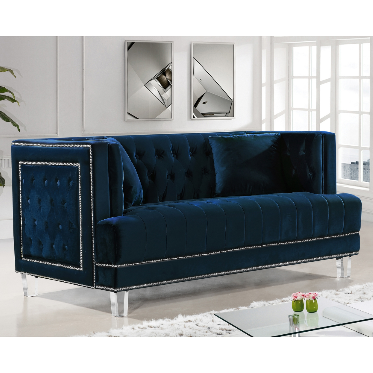 3pc Navy Sofa Set Living Room Furniture New Hot Sectionals