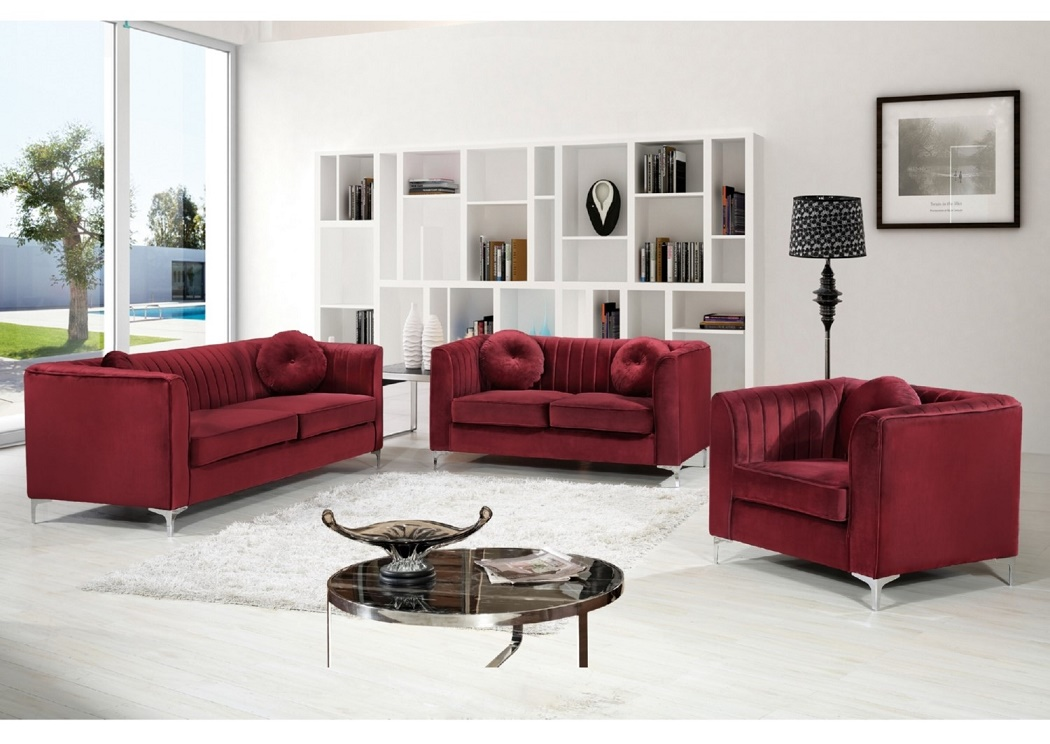 Abbyson Lorenzo Dark Burgundy Italian Leather Loveseat ...