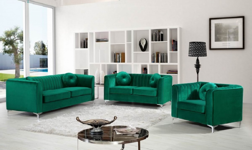 New! Modern Design 3pc Sofa Set Green Velvet Fabric Soft Deep Comfortable  Seating Living Room Furniture