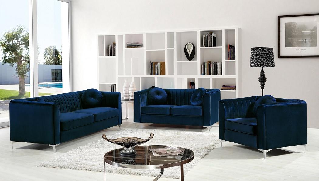 New! Modern Design 3pc Sofa Set Navy Velvet Fabric Soft Deep Comfortable  Seating Living Room Furniture