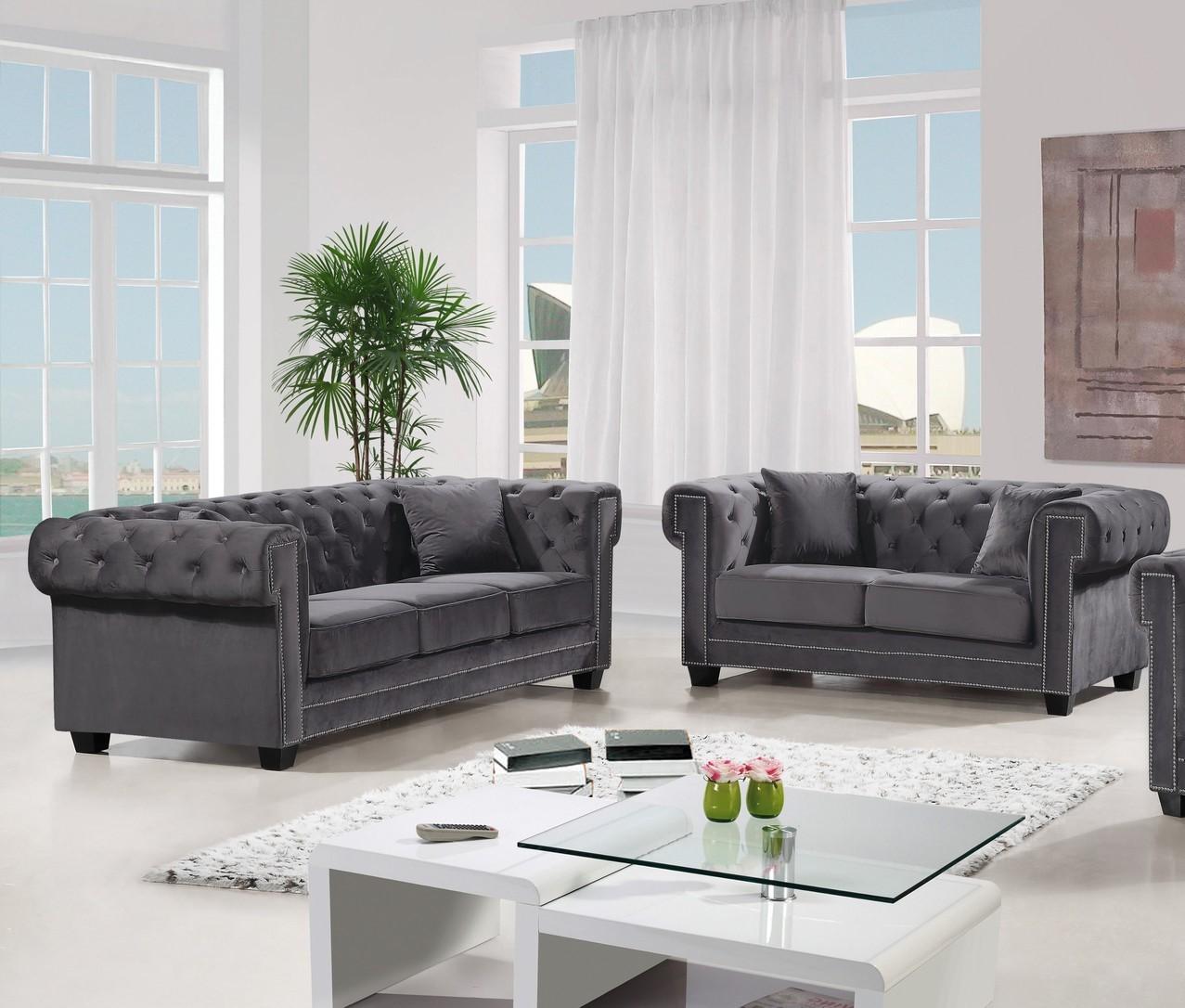 New Modern Design 2pc Set Sofa Loveseat Gray Velvet Fabric Soft Deep Comfortable Seating Living Room Furniture