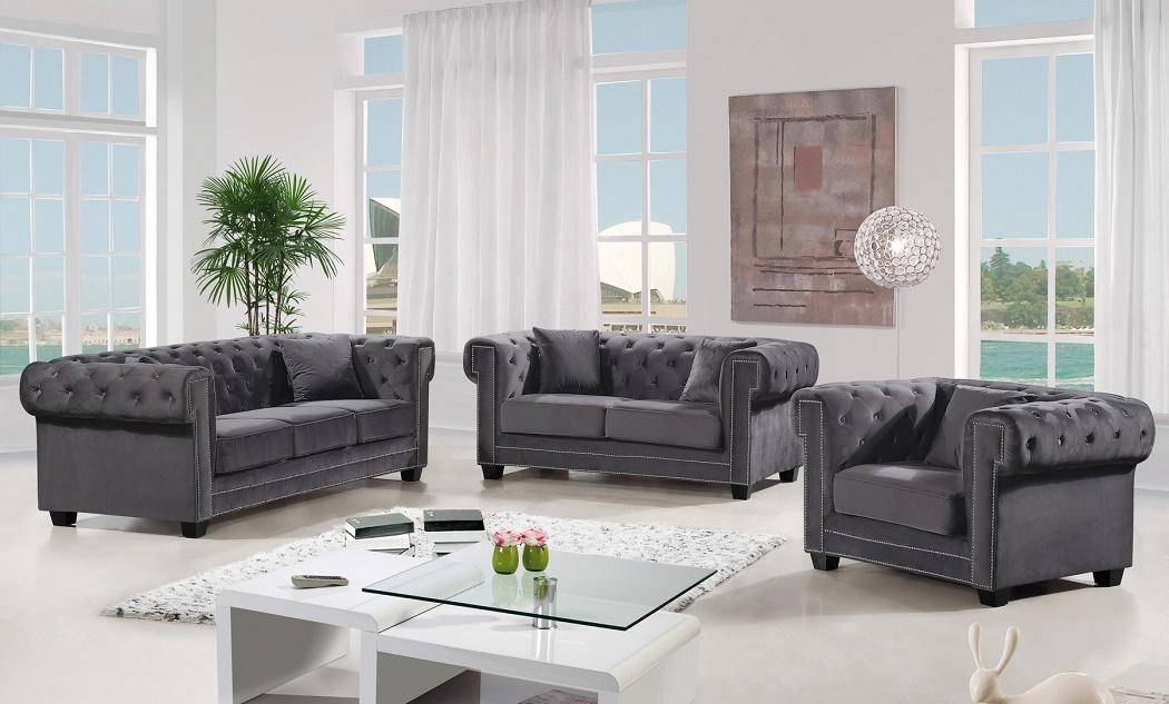 Outstanding Modern Design 3Pc Set Gray Velvet Fabric Tufted Back Sofa W Rolled Arms Wood Legs Living Room Furniture Uwap Interior Chair Design Uwaporg