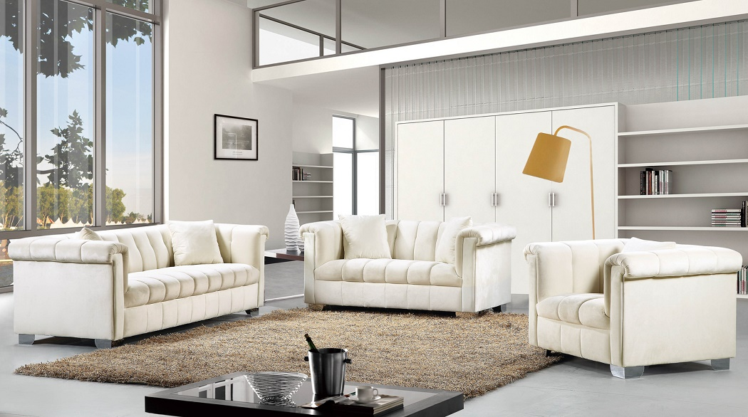 Astounding Modern Style 3Pcs Sofa Set Cream Smooth Velvet Fabric Chrome Legs Tufted Seat Back Living Room Furniture New Gmtry Best Dining Table And Chair Ideas Images Gmtryco