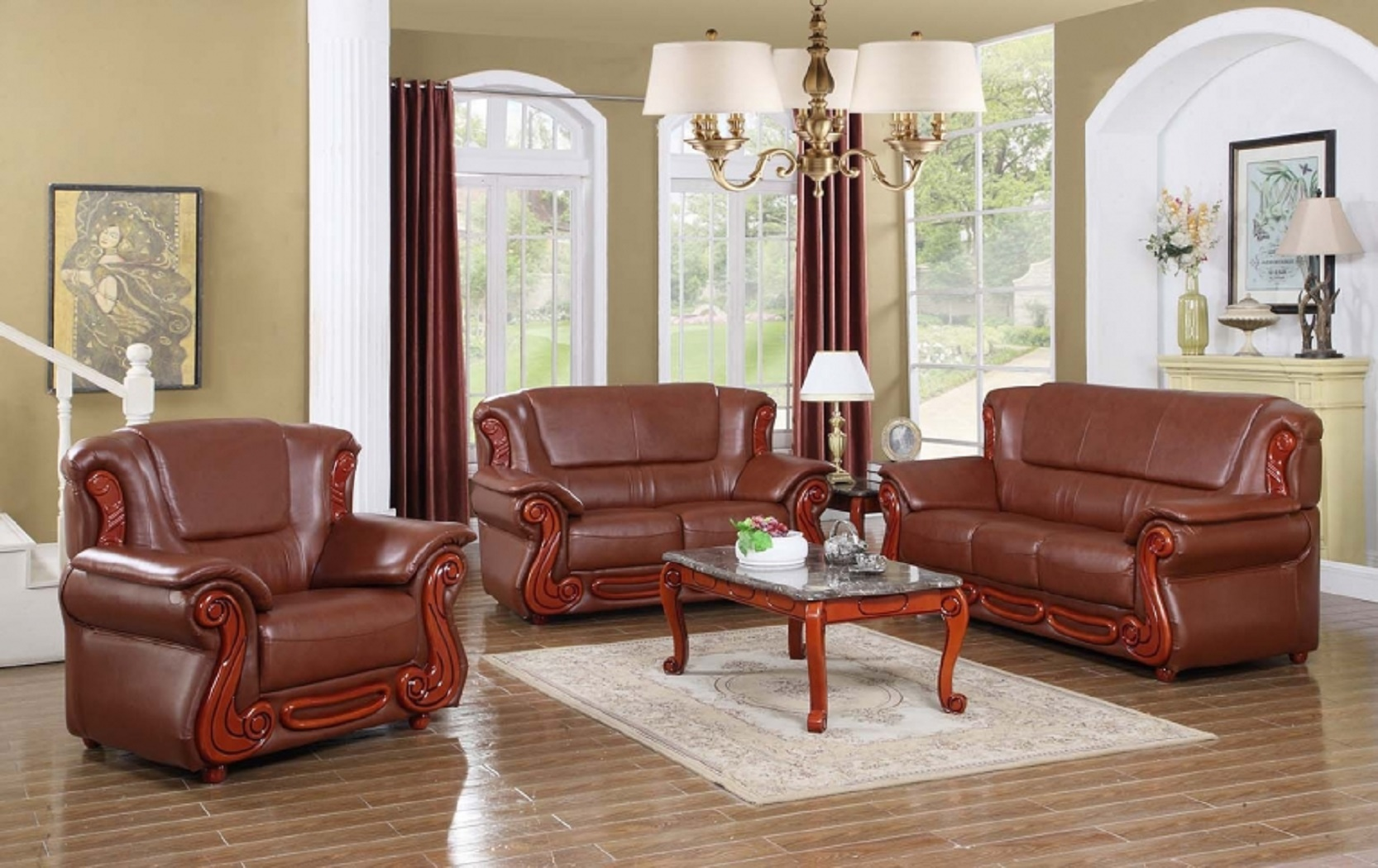 2pc Sofa Set Brown Traditional Living Room Hot Sectionals