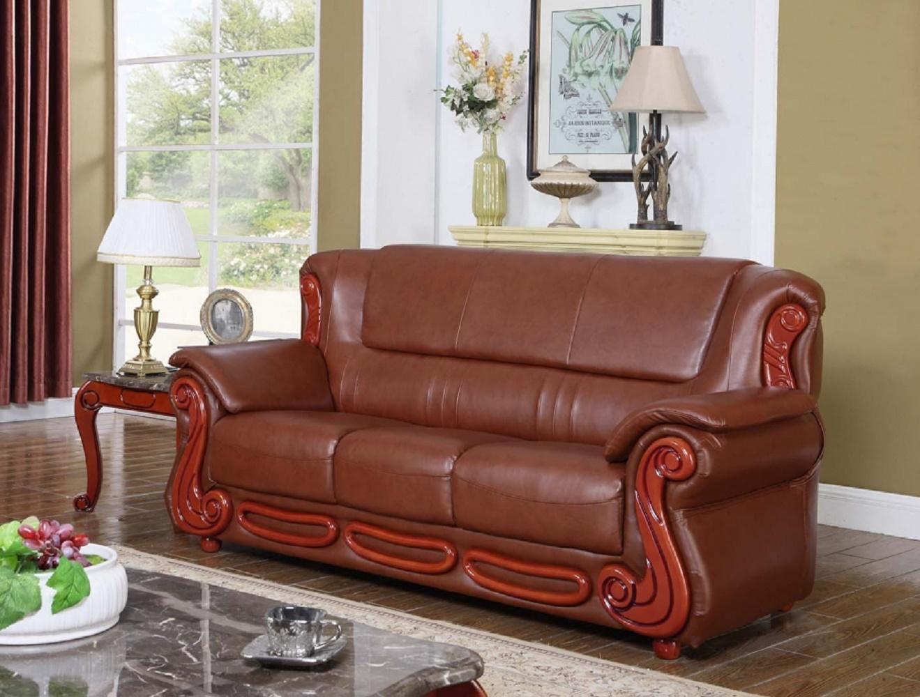 Meridian Brown Bonded Leather Living Room Sofa Rich Cherry Traditional  Design