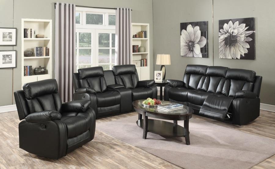 Super Black Top Bonded Leather Living Room Furniture 3Pc Sofa Loveseat Glider Recliner Pabps2019 Chair Design Images Pabps2019Com