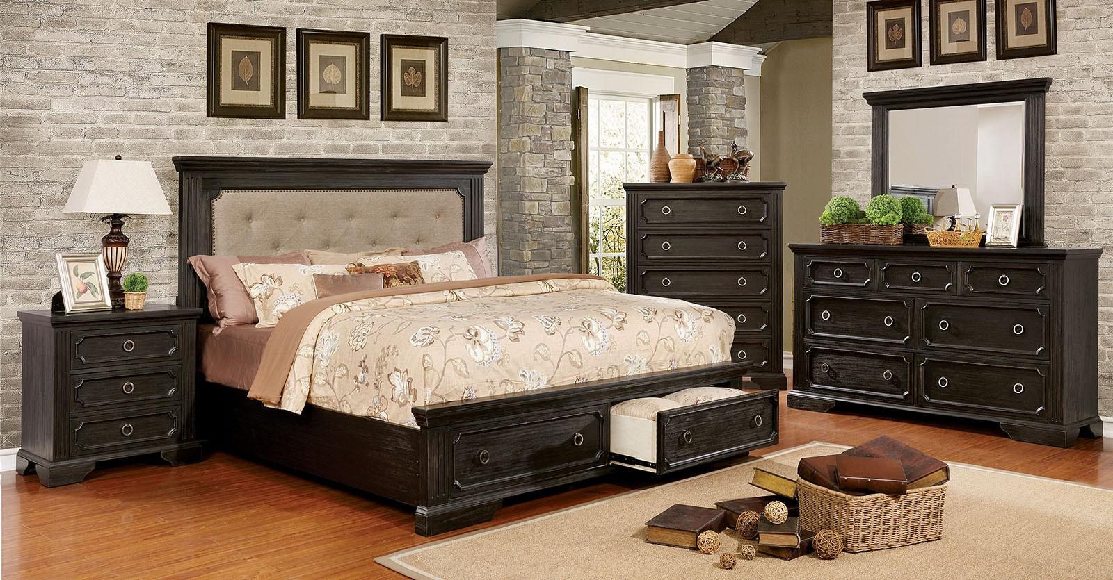 Bedroom Furniture 4pcs Set Black Color Finish Est king bed Dresser Mirror  Nightstand Storage Bed FB