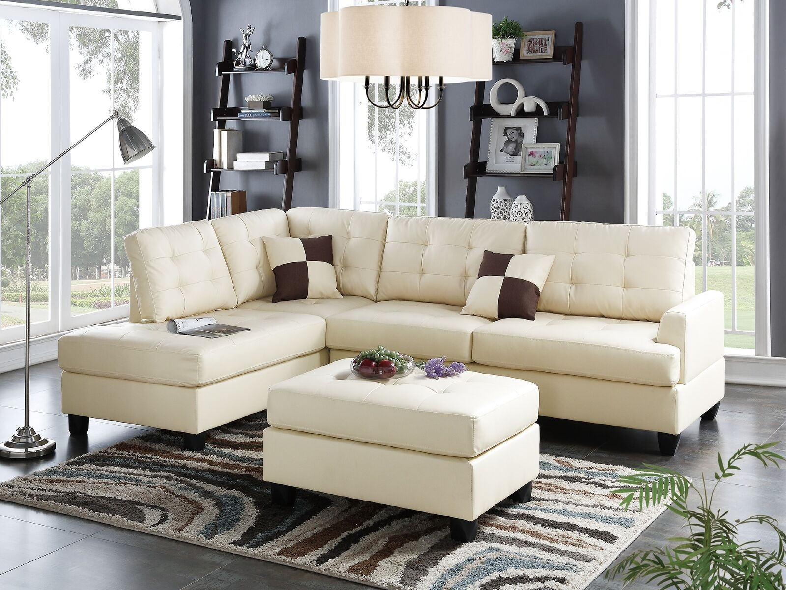Classic Beige Color Faux Leather Sectional Sofa Chaise Ottoman 3pcs Sectionals Bobkona Living Room Furniture