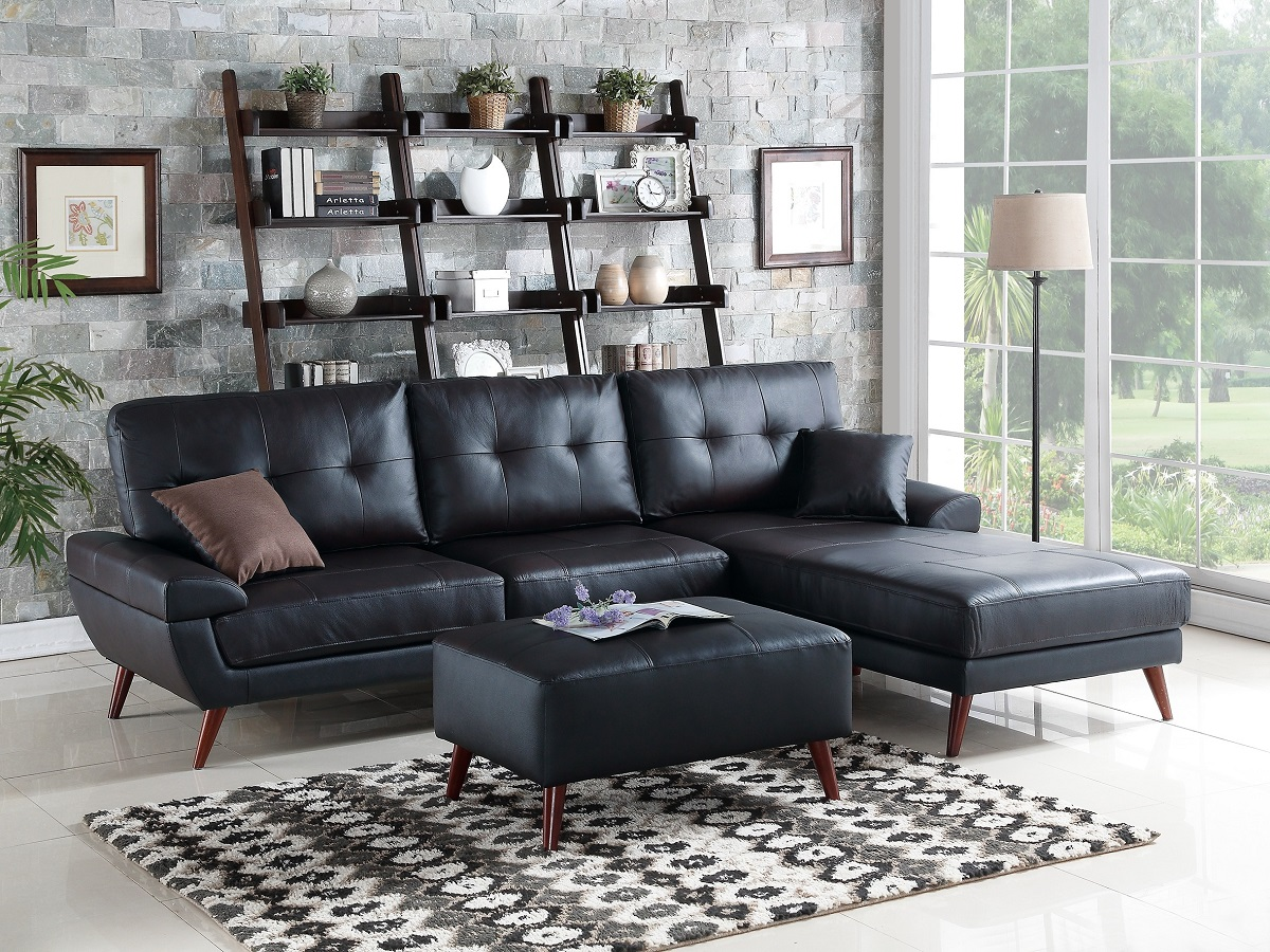 Wondrous Top Grain Leather Match Sectional Sofa Set In Black Color Tufted Comfort Couch F6864 Squirreltailoven Fun Painted Chair Ideas Images Squirreltailovenorg
