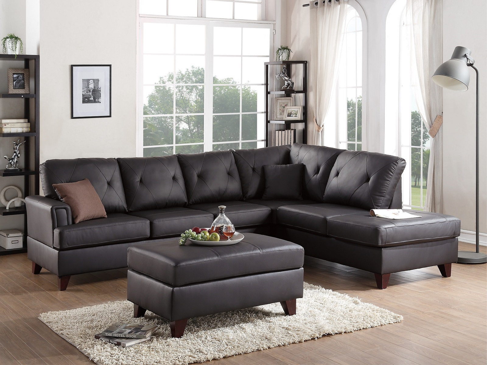 New Reversible Sectional Sofa Set in Brown Color Genuine Leather Match  Diamond Tufted Couch #F6882