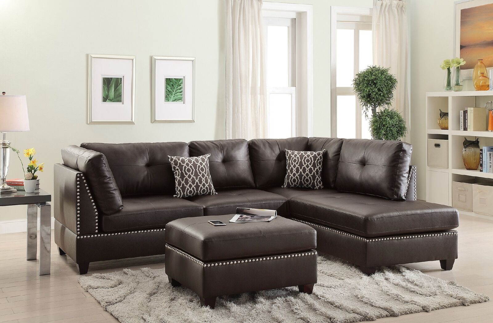 New Espresso Leather Sectional Sofa Chaise Hot Sectionals