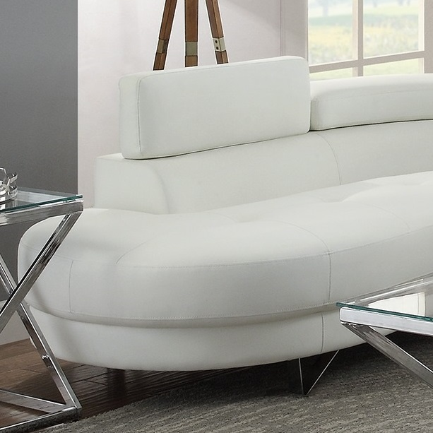 Poundex Sectional White Leather Sofa Chaise
