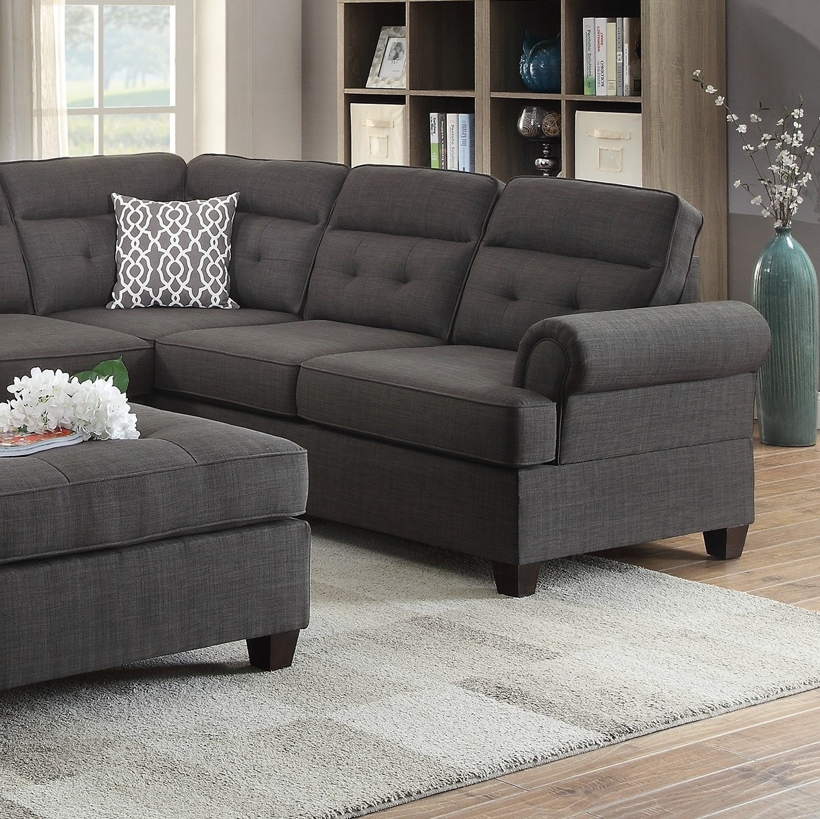 Sectional Black Fabric Sofa Loveseat Wedge Hot Sectionals