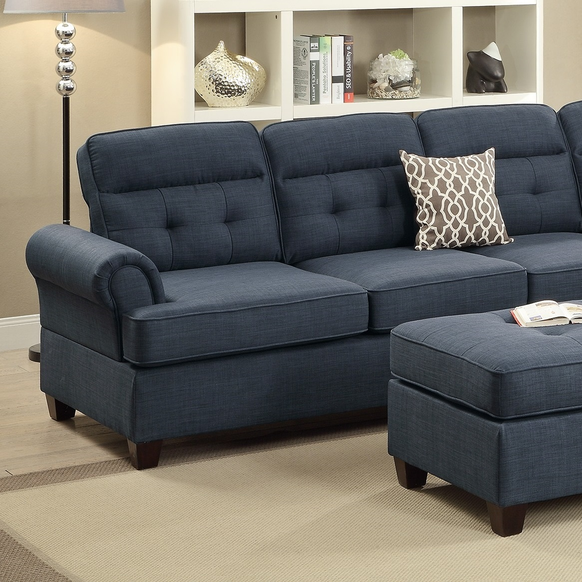 Fabric For Furniture: Sectional Blue Fabric Sofa Loveseat Wedge