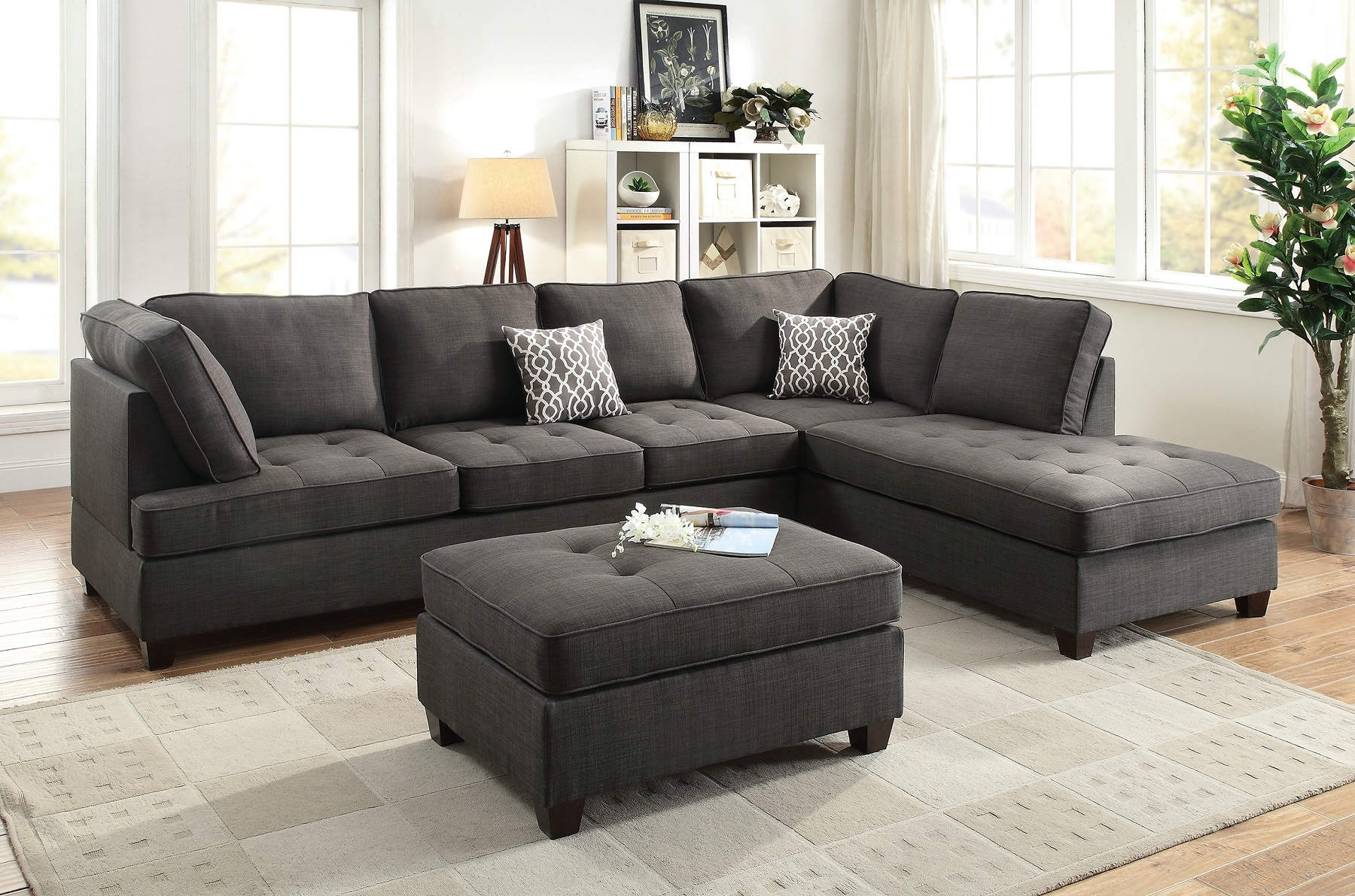 Black sectional sofa chaise poundex f6988 hot sectionals for Black fabric sectional sofa with chaise