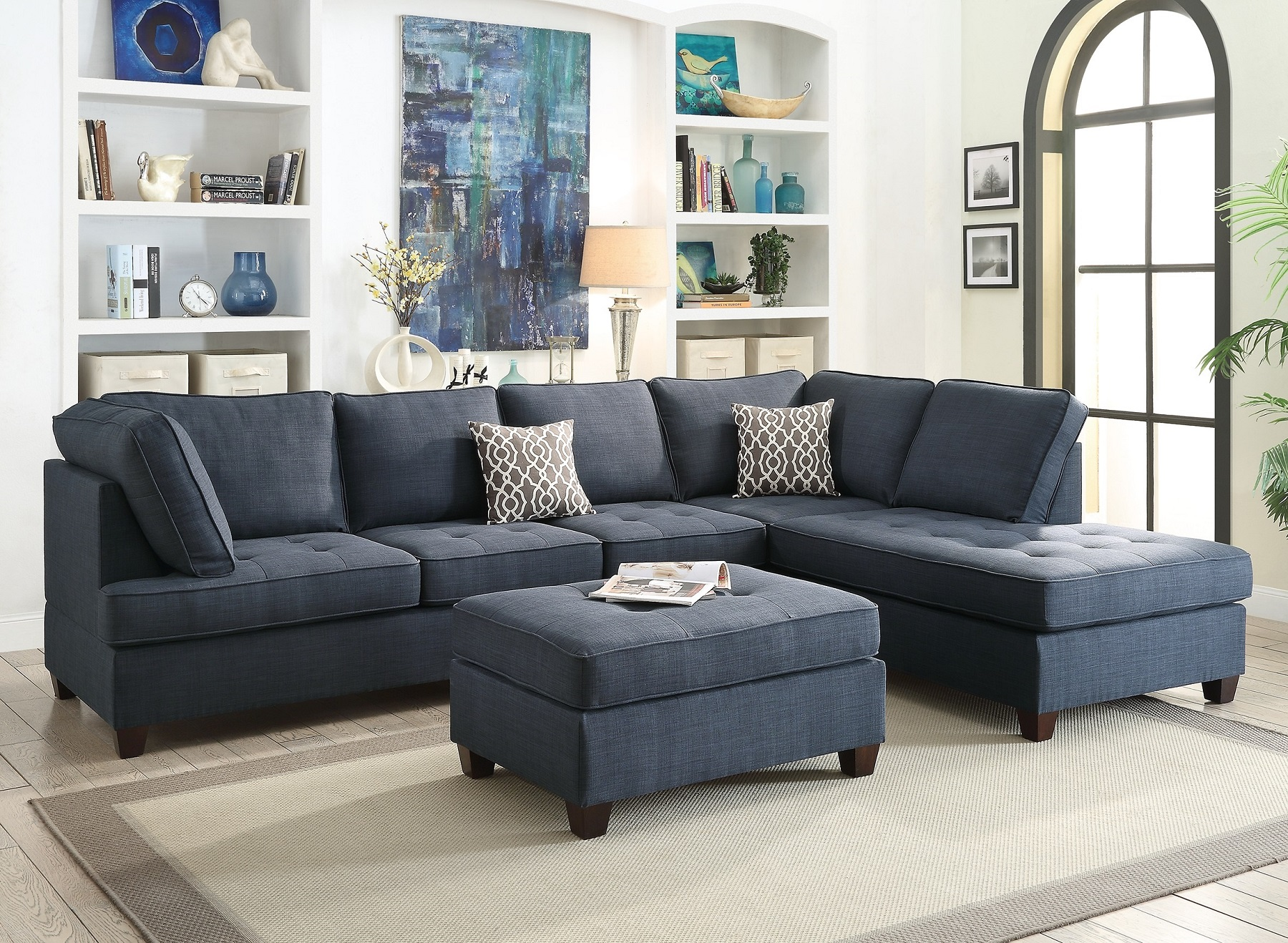 Blue Sectional Sofa Chaise Poundex F6989 Hot Sectionals